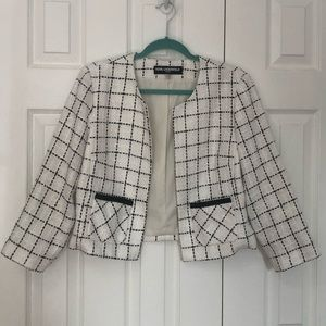 Karl Lagerfeld Black&White Checkered Tweed Blazer
